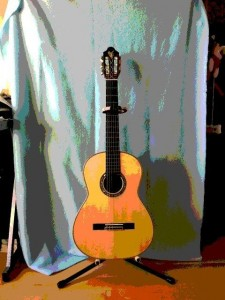Classical guitar created by Alan Perlman. My favorite axe.